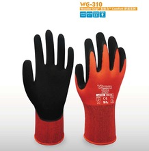 Garden Glove Red Nylon Safety Glove Nitrile Palm Dipped Work Glove