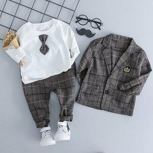 Image 4 - Baby Jungen Kleidung Sets Kinder Kleidung Anzüge 2019 Herbst Kinder Gentleman Stil Mäntel T shirt Hosen 3 pcs infant jungen outfits 3 M 3 T
