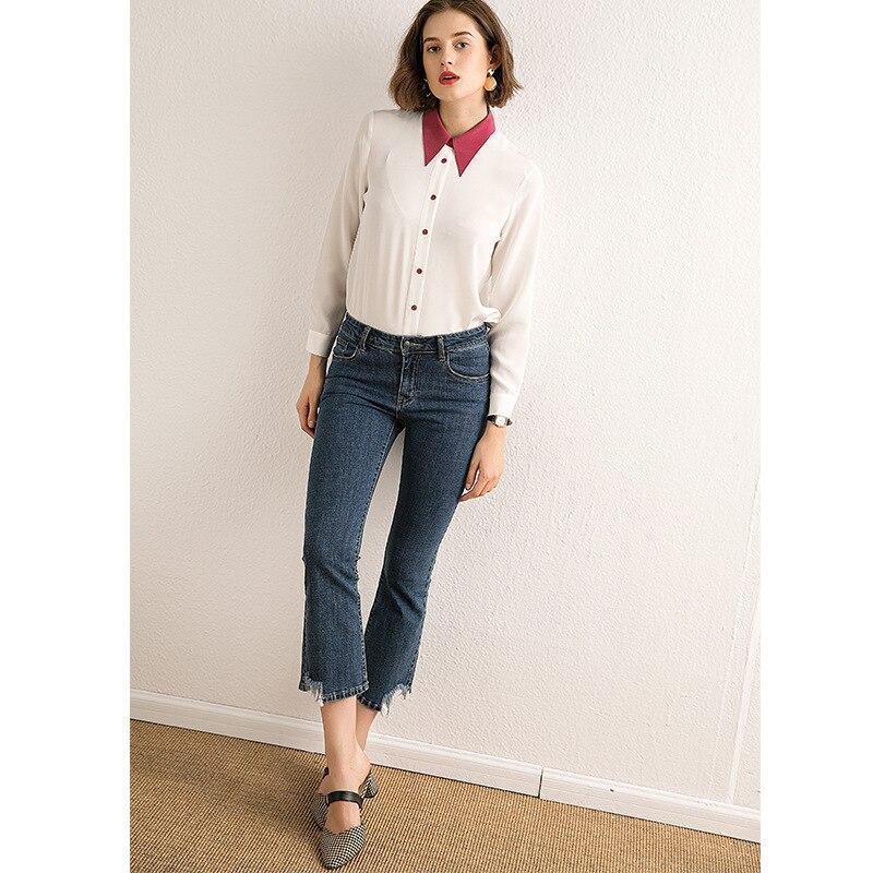 Femmes De Blouses Blanc À Top Manches Shirt Longues Dame Soie Montant Nouveau Chemises Réel Et Col 2019 100 Bureau qFxztaZt