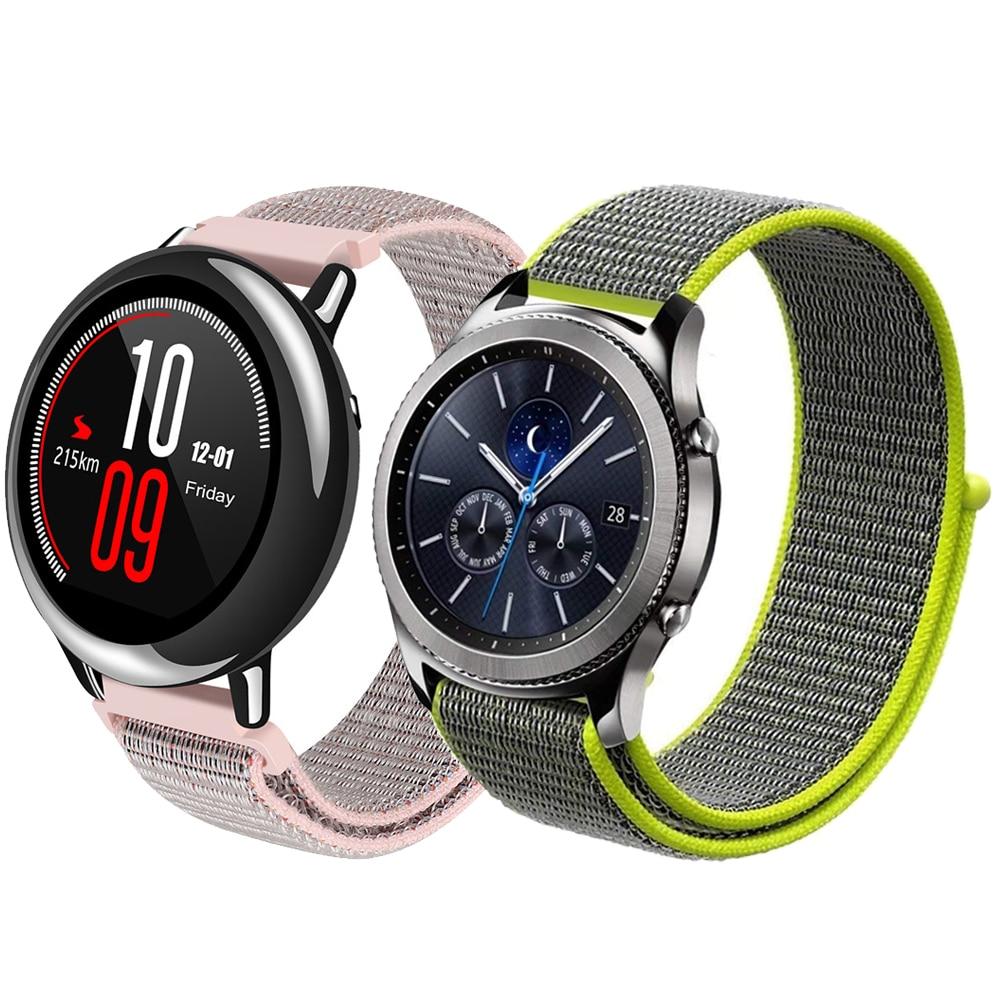 22mm Sport boucle bracelet pour Samsung vitesse S3 frontière/classique sangle en nylon bracelet pour Xiaomi Huami Amazfit Rythme /Stratos 2/1