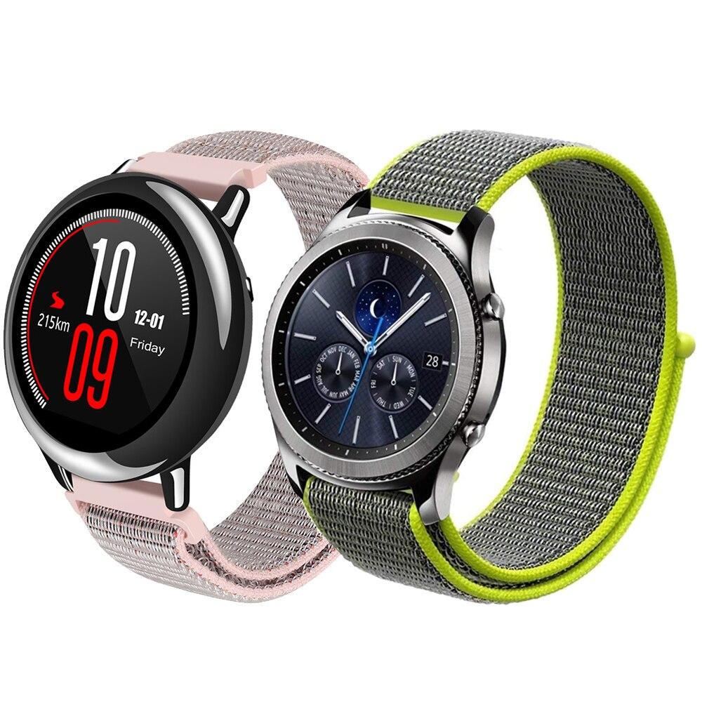22mm Sport schleife armband für Samsung getriebe S3 frontier/klassische strap nylon armband für Xiaomi Huami Amazfit Tempo /Stratos 2/1