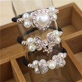 Wholesale Fineness New Korean Women Flower Headwear Accessories Rhinestone Imitation Pearl Beads Elastic Ties Ponytail August 26