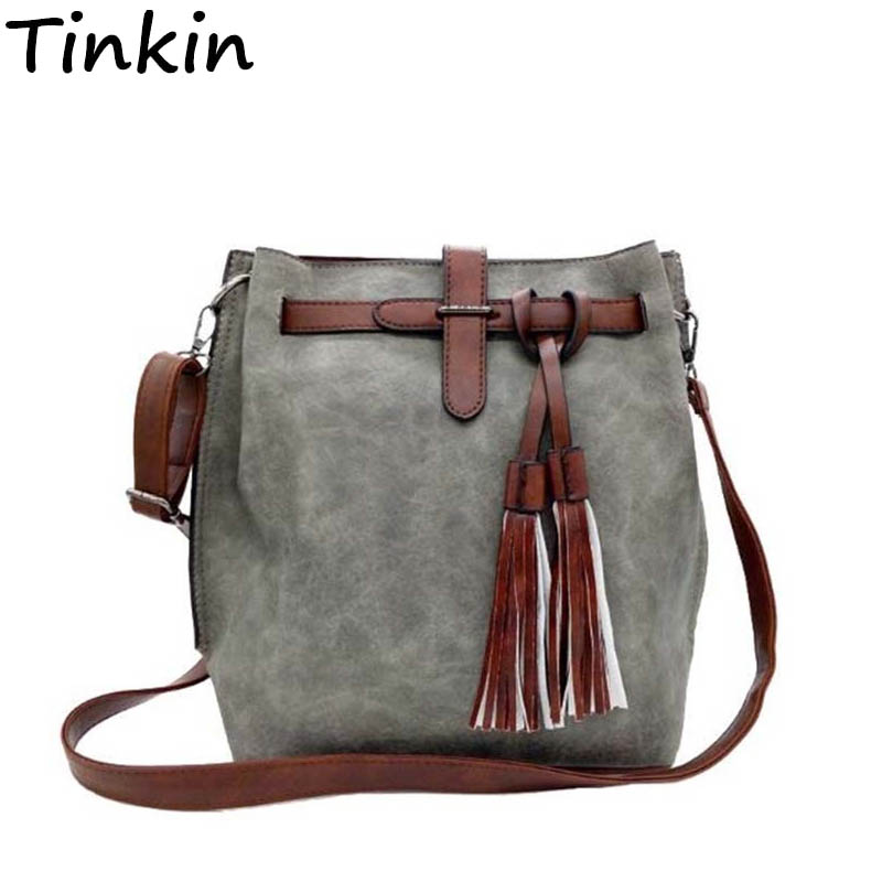 Tinkin Women Vintage PU Shoulder Bag Female Retro Daily Messenger Bag All-match Shopping Bucket Bag Classy Tassel Dames Tassen
