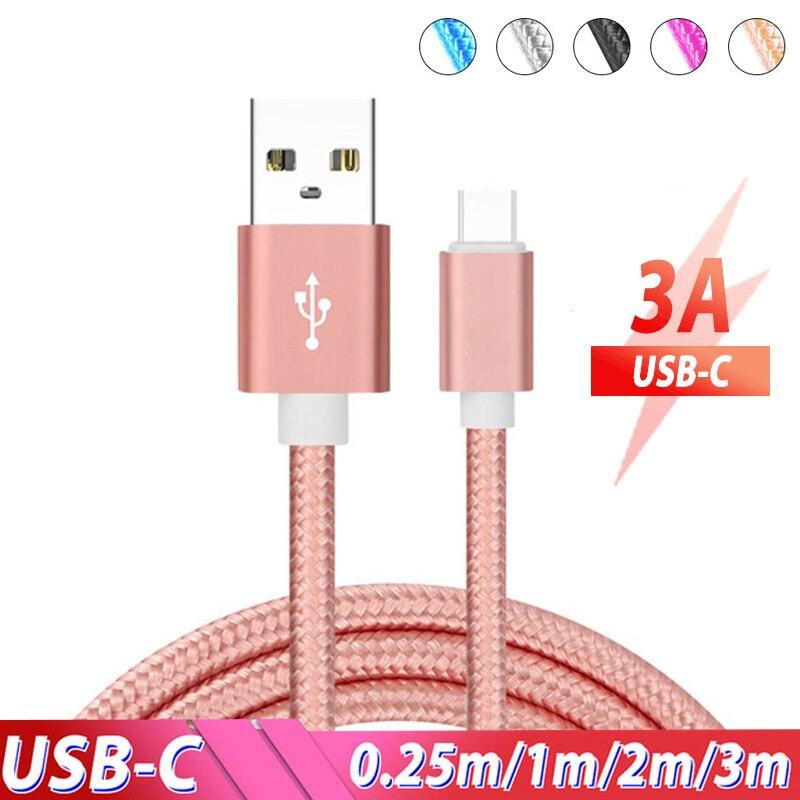Tipo c cabo 3m 3 metro usb tipo c cabo 3.1 cabo de carregamento rápido cabo tipo c para realme 5 6 pro x q xiao mi 9 mi nota vermelha 8 pro