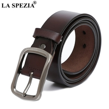 LA SPEZIA Coffee Belt For Men 2019 Vintage Genuine Leather Pin Buckle Male Retro Solid Square Real Cowhide