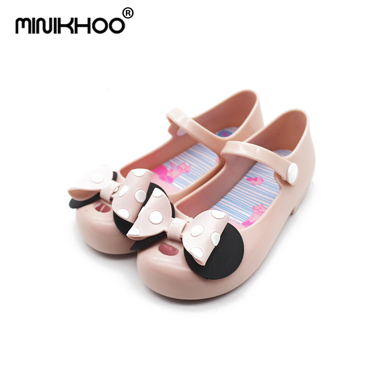 Mini Melissa 2018 New Mickey Bow Girl Jelly Sandals Wave Point Bow Shoes Baby Sandals Children Cute Children Princess Sandals