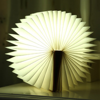 5 Colors Foldable Pages Led Book Shape Night Light Lighting Lamp Portable Booklight Usb Rechargeable