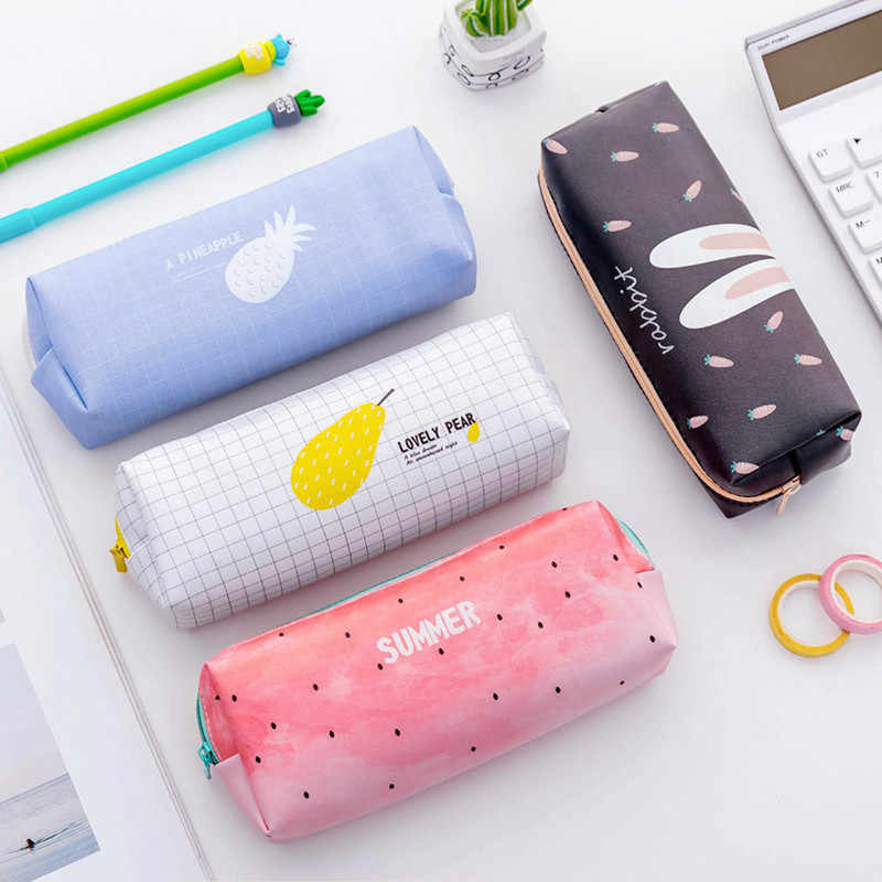 GIFT Pencil Case Cute School Pencil Cases For Girls Boy Kawaii Leather Big Pen Bag PencilCase Pouch School Storage Stationery