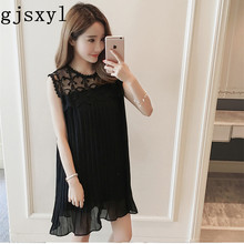 gjsxyl Maternity Dress Dress Maternity 2018 Summer New Chiffon Pleated Sleeveless Maternity Dress Loose Long Maternity Dress smdppwdbb maternity dress maternity photography props long sleeve maternity gown dress mermaid style baby shower dress plus size