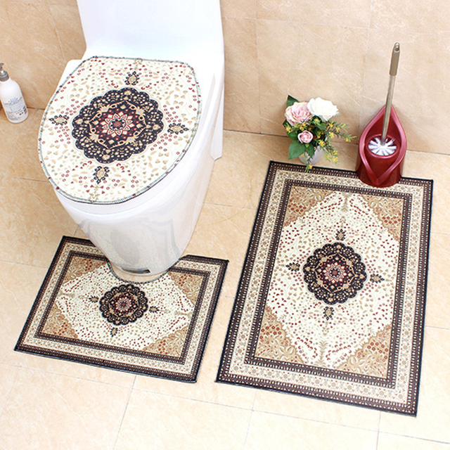 Classic Retro Style Bathroom and Toilet Rugs Set