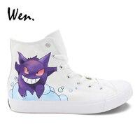 Wen Design Custom Pokemon Pocket Monster Gengar Hand Painted Shoes Women Canvas Casual Sneaker High Top