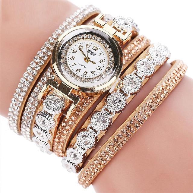 CCQ Women Fashion Casual Analog Quartz Women Rhinestone Watch Bracelet Watch Clo