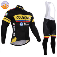 Winter Team Colombia PRO men Cycling Jersey Bib Pants Sets Ropa Ciclismo MTB Thermal Fleece bike clothes Wear bicicleta Clothing