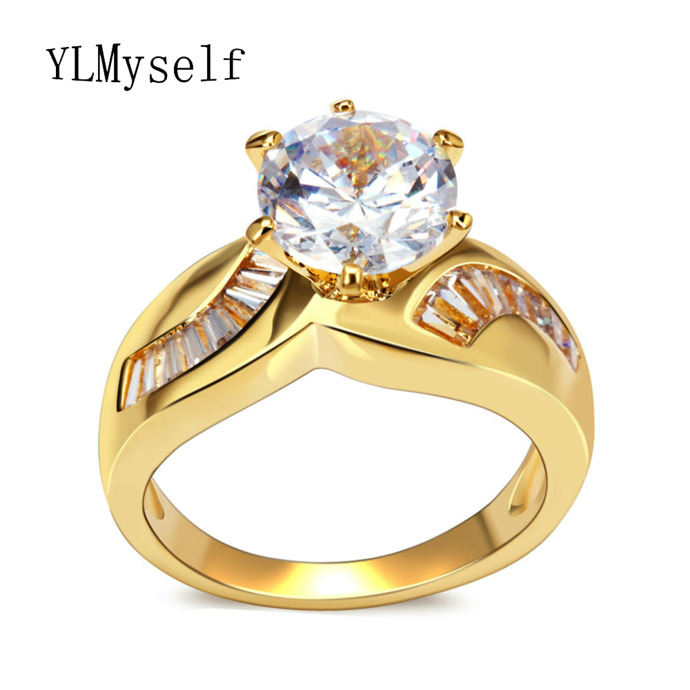 Wedding rings 3 carat crystal unique designer jewelry Gold White