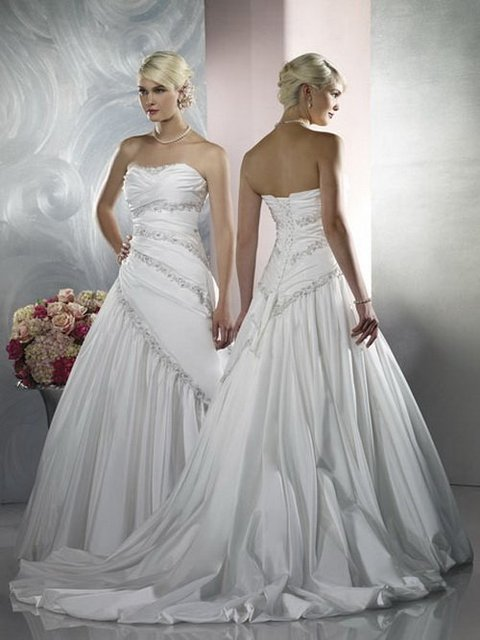 New Arrival ! Free Shipping!sweet neckline satin beaded court train asymmentric custom-made 2013 Wedding Dresses