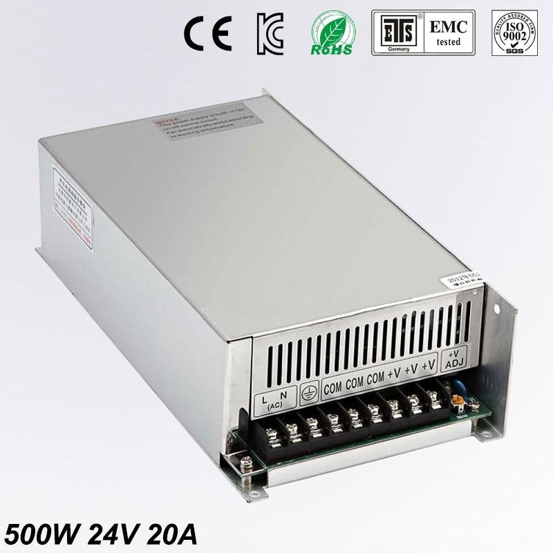 Universel 24 V 20A 500 W régulé alimentation à découpage Transformer100-240V AC à DC pour LED bande lumière éclairage CNC CCTV moteur