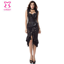 Fashion Gothic Corset Jacket Skirt Set Burlesque Dress Plus Size Corsets and Bustiers Steampunk Clothing Women Halloween Costume