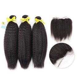 Halo hair Brazilian Kinky Straight 3/4 Bundles Pre Preplucked With Lace Frontal Closure 13X4 Free Part 100% Human Virgin Hair
