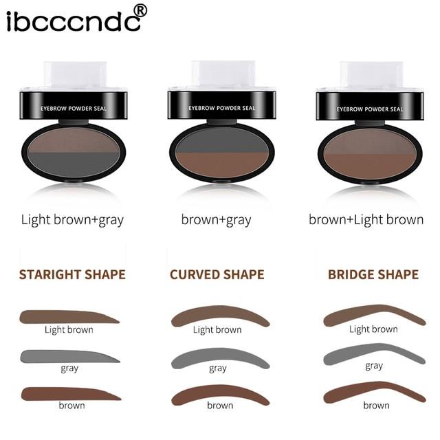 Double Color Eyebrow Powder Seal Makeup Brown Eye Brow Stamp Palette Long Lasting Waterproof Eyebrow Shadow Stencil Kit Cosmetic 2