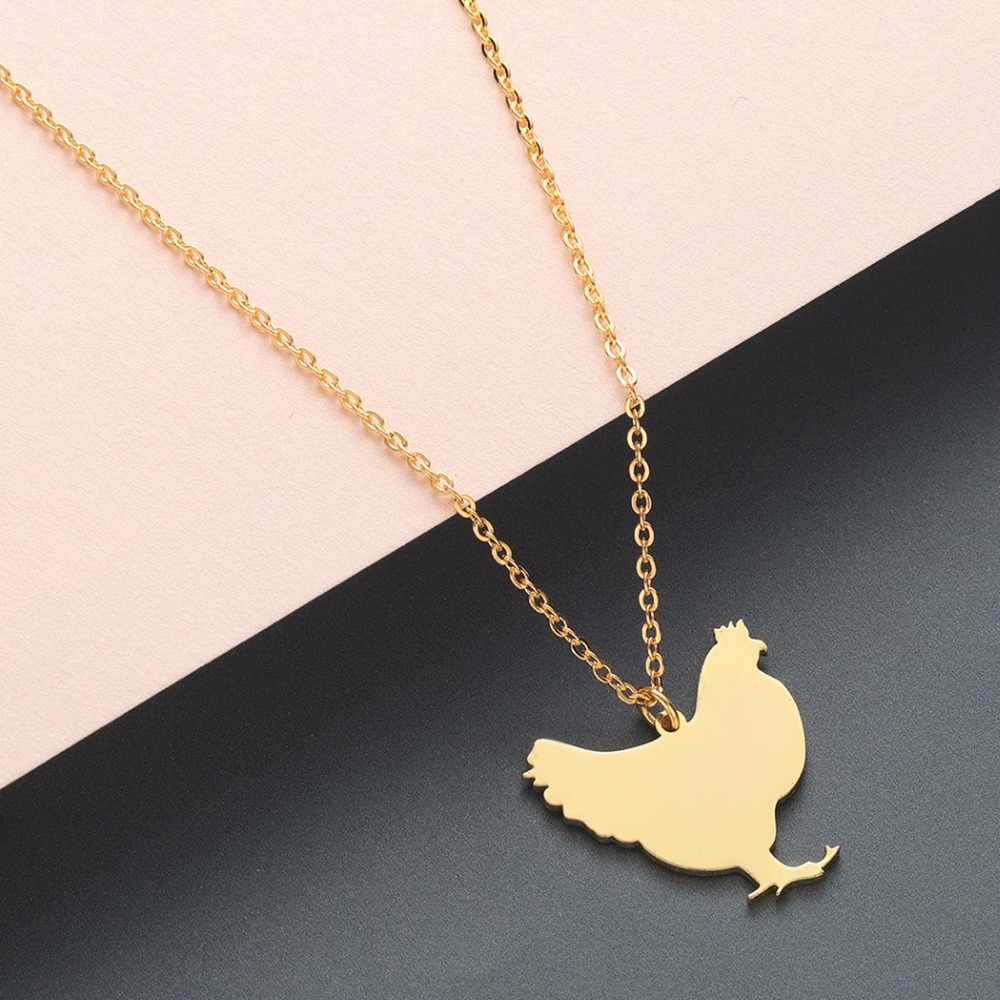 Stainless Steel Chicken Animal Necklace Women Girls Children Gift Wholesale Jewelry Hen Farm Gold Pendant Necklace