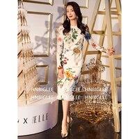 Новые модные дизайнерские подиумные платья сезон: весна–лето Для женщин с длинным рукавом Prairie Chic цветочные печати Тонкий элегантный каран