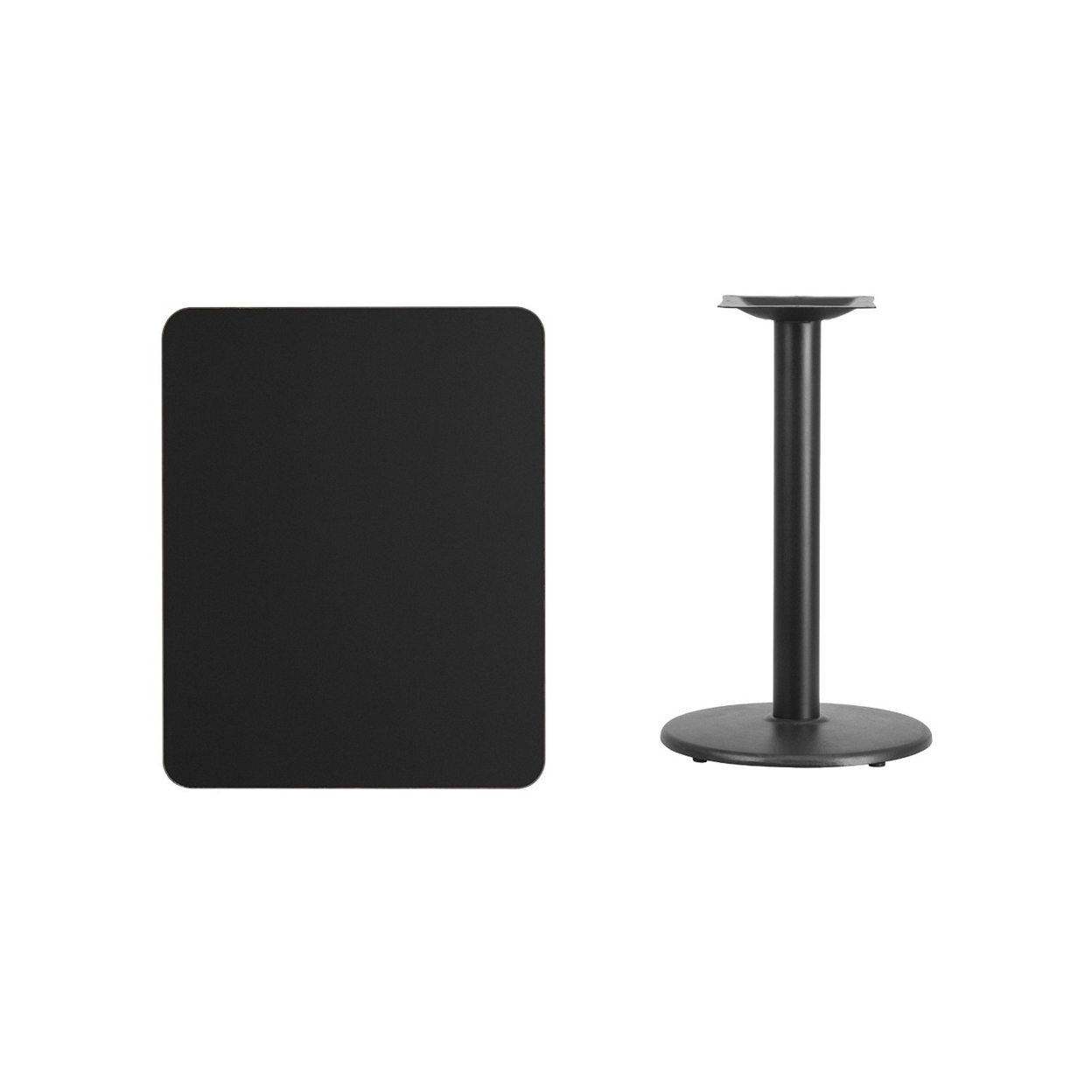 Flash Furniture 24 x 30 Rectangular Black Laminate Table Top with 18 Round Table Height Base winsome cora pub table bar height round faux marble top black base