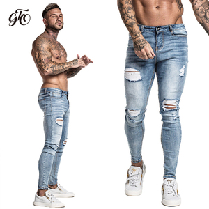 Image 2 - Gingtto Skinny Jeans For Men Faded Blue Ripped Distressed Stretch Hip Hop Slim Fit Pants Super Spray On Repaired Plus Size zm45