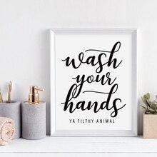 Мыть руки вы грязные Животные стены искусства холст плакат печать забавная ванная комната художественная работа с цитатами живопись черный Типографика домашний декор