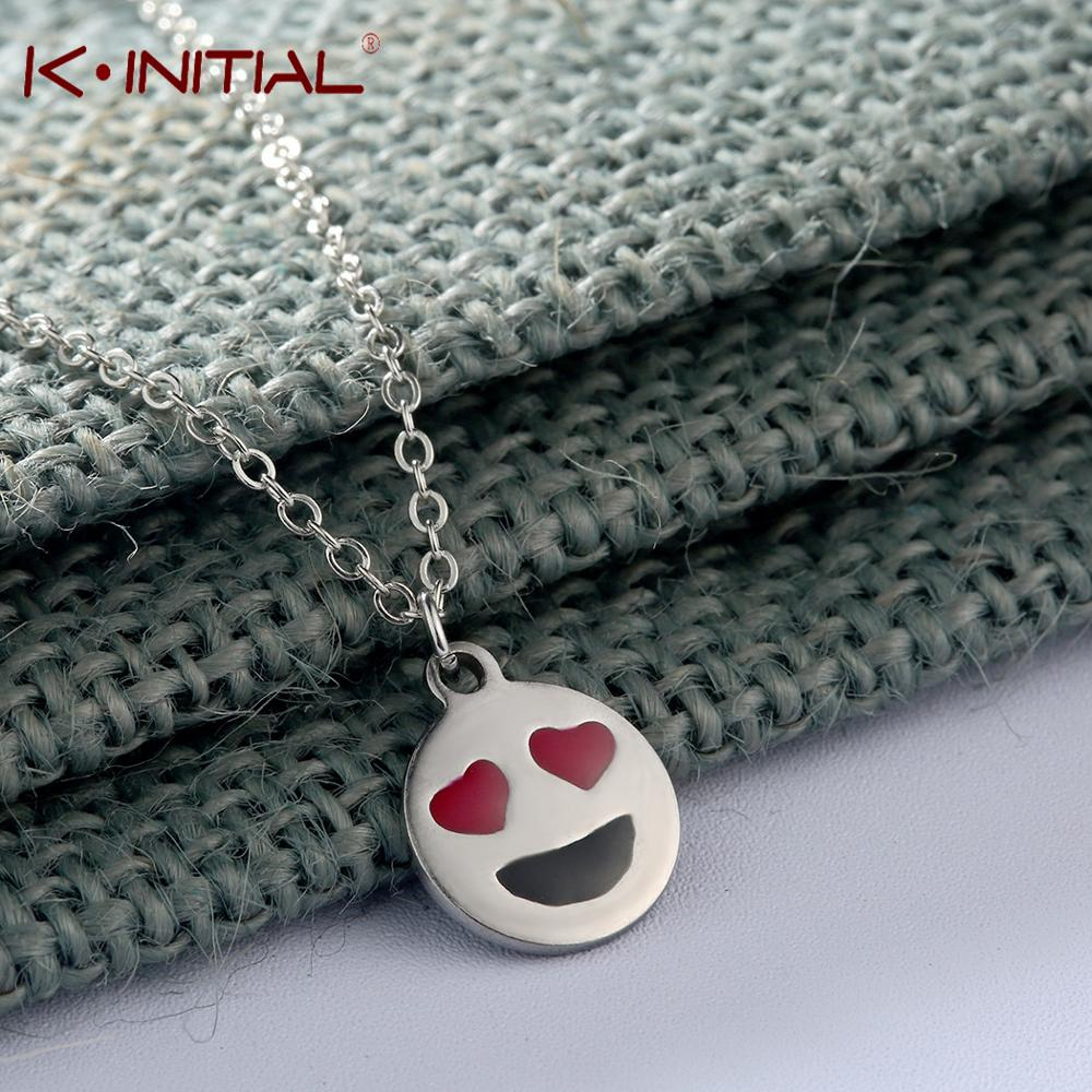 Kinitial Love Expression Emoji Stainless Steel Necklace Women Men Fashion Gold Sliver Color Necklace Pendant Jewelry Gift Women