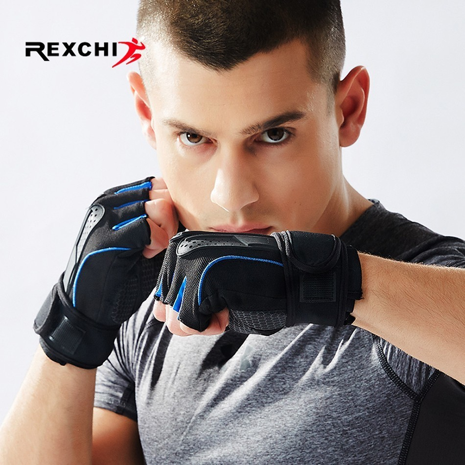 REXCHI Professional Gym Fitness Gloves Power Weight Lifting Fingerless Crossfit Workout Bodybuilding Glove Sports Equipment