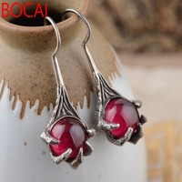 S925 prata incrustada corindo vermelho Brincos Estilo Antigo