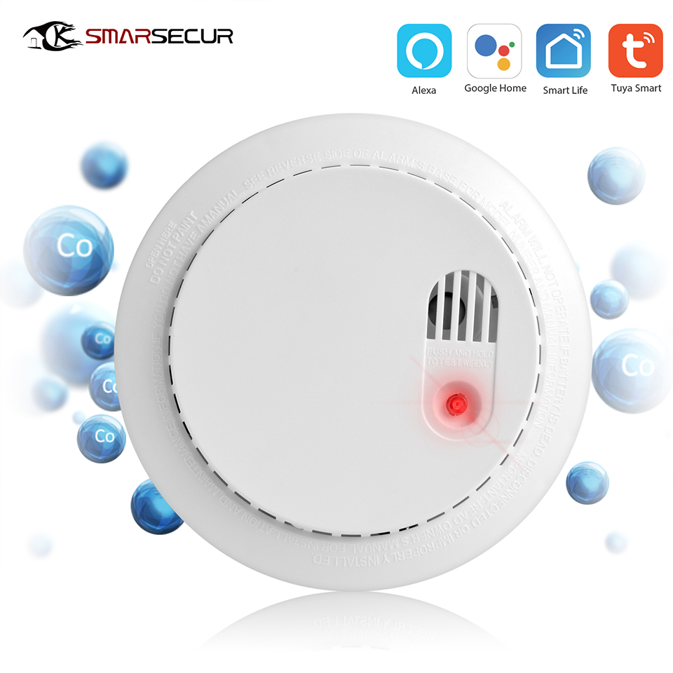 Wi-Fi Wifi CO+Smoke Detector Security Wifi Carbon Monoxide DetectorAlarm System Support For Tuya Smart Home App