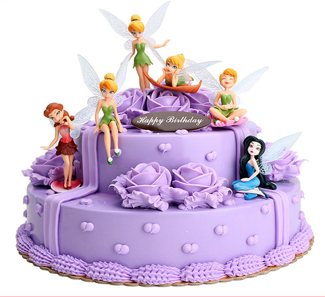 Princess Cake Topper 6pcs Set 3 Inch Tinkerbell Dolls Flying Fairy Adorable Tinker Bell Gift Baby Toy Doll Decoration