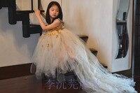 Estilo occidental de Boda Show Girls Princesa Vestido de Princesa Champagne Oro Flor Niños Ropa de Fiesta