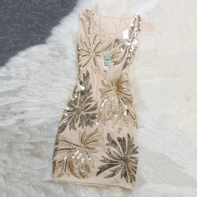 Free Shipping 2017 New Summer Elegant Dress With Embroidery And Sequins Vest Dress Beautiful Slim Women Sleeveless Party Dresses