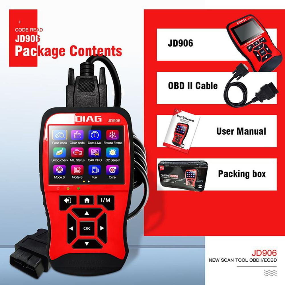 JD906 Enhanced Mode 6 Mode 8 OBD2 Car Scanner Engine Fault Code Reader For Smog Check With Core Analysis