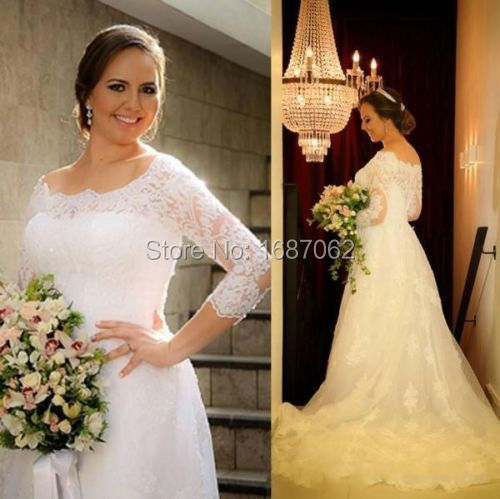 Modest Lace Plus Size Wedding Dresses With 34 Sleeves 2015 Vintage