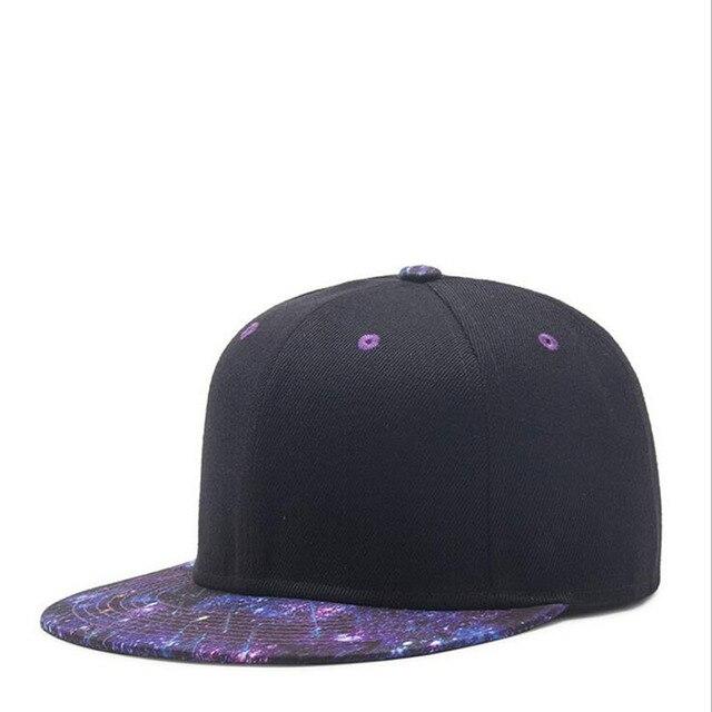 501801007e1b5 Black With Blue Galaxy Adjustable women Baseball Caps Men s Hip Hop Snapback  Flat Bill brim Hats Starry Space Dad Trucker Cap