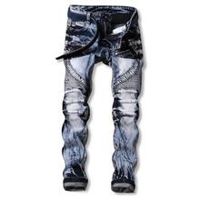 GMANCL Men Jeans Ripped Biker Hole Denim Patch Harem Straight Punk Rock Slim Fit Classic Hip Hop Blue Jeans For Men Pantsf