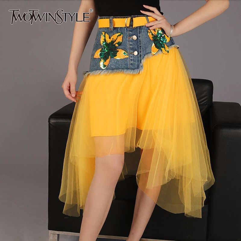 TWOTWINSTYLE Mesh Tutu Skirt Female Denim Patchwork Sequins With Sashes High Waist Irregular Midi Skirts Summer