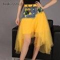 Женская асимметричная юбка-пачка TWOTWINSTYLE, повседневная юбка-миди из двух частей - сетчатой и джинсовой, с высокой посадкой, в блестках, с завя...