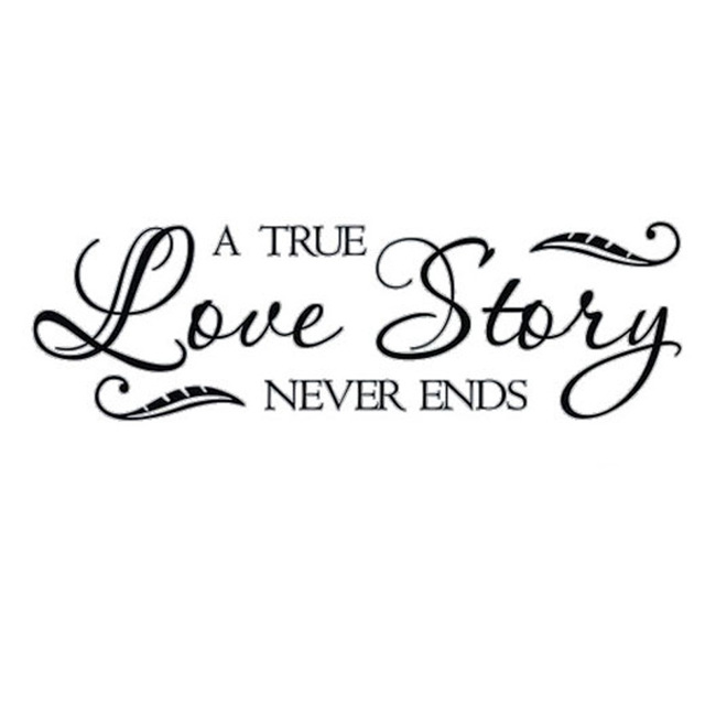 A True Love Story Never Ends Quote: CaCar A True Love Story Never Ends Wall Stickers Quotes