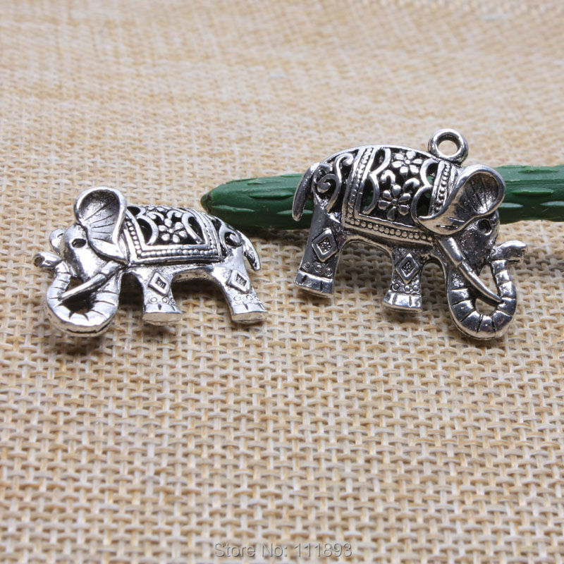 5pcs/lot Hollow elephant ancient silver Metal Charm pendant for fashion Necklace bracelet Making Supplies DIY jewelry accessor