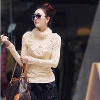 Large Plus Size 2016 Women Wool Thicken Winter T Shirt Turtleneck Ladies Brand Lace Tops Tees Warm Tshirt Black Khaki XL T5185