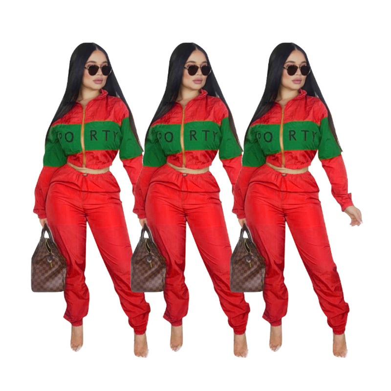 Zipper Patchwork Tracksuit Set Women Casual Hooded And Pants Sportwear Female Suit Long Sleeves Hoodies Sweatshirts 2 Two Pieces