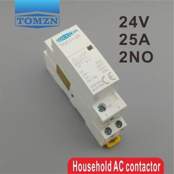 CT1 2P 25A 24V cewka 50 60HZ na szynę Din gospodarstwa domowego ac stycznik modułowy 2NO lub 1NO 1NC tanie i dobre opinie TOMZN Other CT1-25-2P