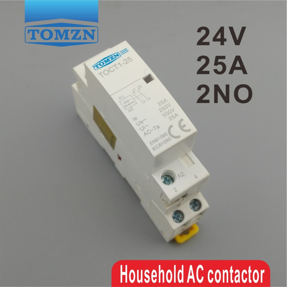 CT1 2P 25A 24V coil 50/60HZ Din rail Household ac Modular contactor 2NO or 1NO 1NC ct 2p 25a no nc ac220v home ac contactor often open ct1 25 25a lyn brand