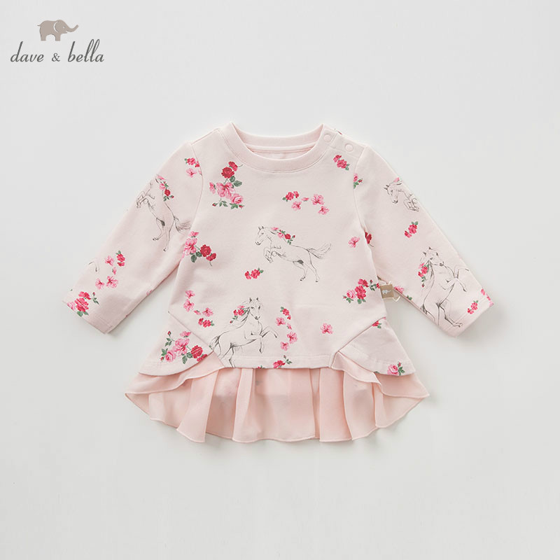 DBJ9644 dave bella baby girls floral Dress long sleeves spring dresses kids girls dress children birthday