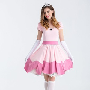 Image 3 - Deluxe Adult Princess Peach Costume Women Princess Peach Super Mario Bros Party Cosplay Costumes Halloween Costumes