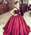 Borgonha barato Apliques de Renda Preta Vestidos de Noite Sexy V Neck dubai Saudita Vestido de Festa À Noite Até O Chão Inchado Vestido de Baile